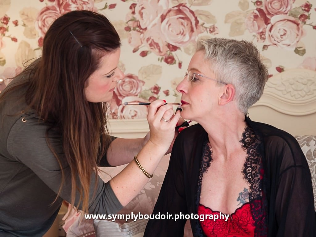 make up artist with client